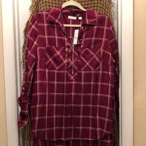Plaid zip-up blouse